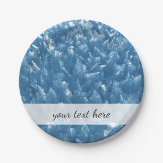 beautiful fresh blue ice crystals photograph paper plate