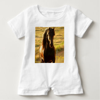 BEAUTIFUL FRIESIAN HORSE STALLION BABY ROMPER