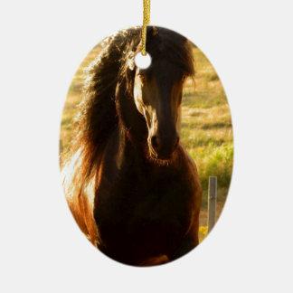 BEAUTIFUL FRIESIAN HORSE STALLION CERAMIC ORNAMENT