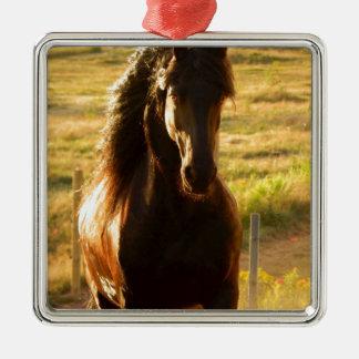 BEAUTIFUL FRIESIAN HORSE STALLION METAL ORNAMENT