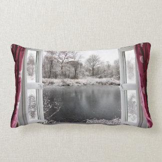 Beautiful frozen lake scene through an open window lumbar pillow