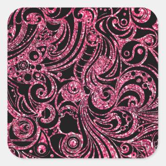 Beautiful Fuchsia Glitter Design Square Sticker