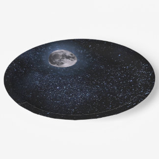 Beautiful Full Moon and Stars 9 Inch Paper Plate