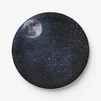 Beautiful, Full Moon and Stars, Custom Paper Plate