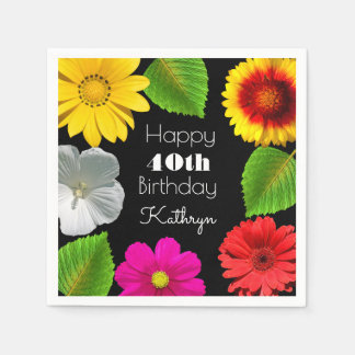 Beautiful Garden Birthday Napkin