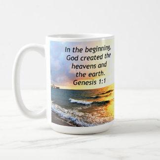 BEAUTIFUL GENESIS 1:1 BIBLE QUOTE DESIGN COFFEE MUG