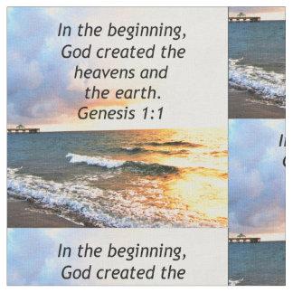 BEAUTIFUL GENESIS 1:1 BIBLE QUOTE DESIGN FABRIC