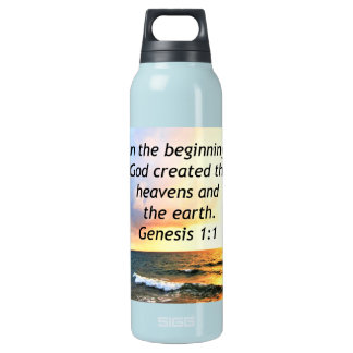 BEAUTIFUL GENESIS 1:1 BIBLE QUOTE DESIGN INSULATED WATER BOTTLE