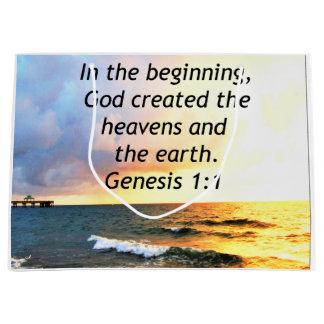 BEAUTIFUL GENESIS 1:1 BIBLE QUOTE DESIGN LARGE GIFT BAG