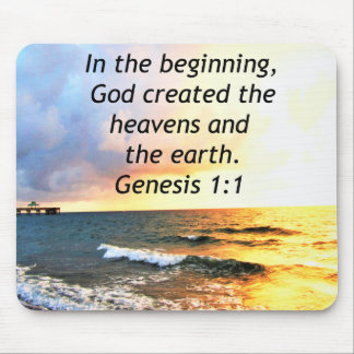 BEAUTIFUL GENESIS 1:1 BIBLE QUOTE DESIGN MOUSE PAD