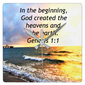 BEAUTIFUL GENESIS 1:1 BIBLE QUOTE DESIGN SQUARE WALL CLOCK