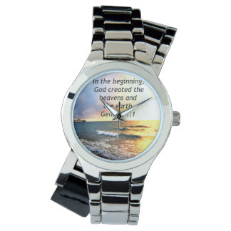 BEAUTIFUL GENESIS 1:1 BIBLE QUOTE DESIGN WATCH