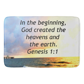 BEAUTIFUL GENESIS 1:1 BIBLE QUOTE SUNRISE PHOTO BATH MAT