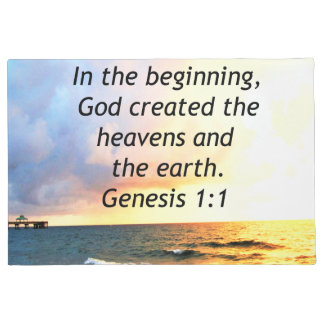 BEAUTIFUL GENESIS 1:1 BIBLE QUOTE SUNRISE PHOTO DOORMAT
