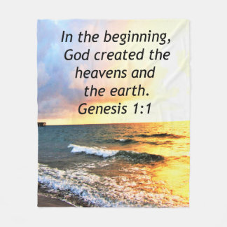 BEAUTIFUL GENESIS 1:1 BIBLE QUOTE SUNRISE PHOTO FLEECE BLANKET