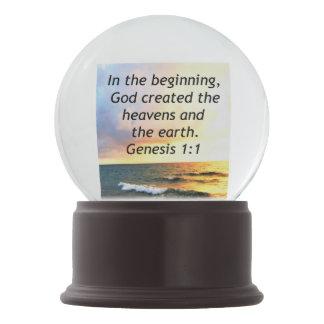 BEAUTIFUL GENESIS 1:1 BIBLE QUOTE SUNRISE PHOTO SNOW GLOBE