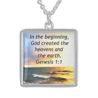 BEAUTIFUL GENESIS 1:1 BIBLE QUOTE SUNRISE PHOTO STERLING SILVER NECKLACE