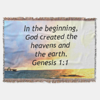 BEAUTIFUL GENESIS 1:1 BIBLE QUOTE SUNRISE PHOTO THROW BLANKET