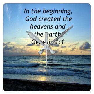 BEAUTIFUL GENESIS 1:1 SUNRISE PHOTO DESIGN SQUARE WALL CLOCK