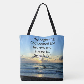 BEAUTIFUL GENESIS 1:1 SUNRISE PHOTO DESIGN TOTE BAG