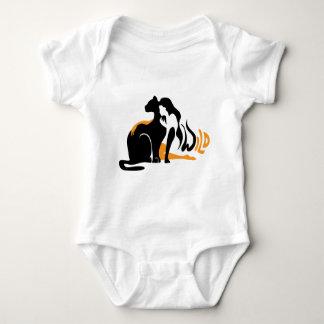 Beautiful girl, big black cat Panther illustration Baby Bodysuit