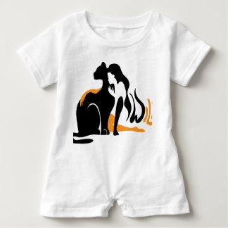 Beautiful girl, big black cat Panther illustration Baby Romper