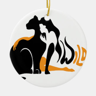 Beautiful girl, big black cat Panther illustration Ceramic Ornament