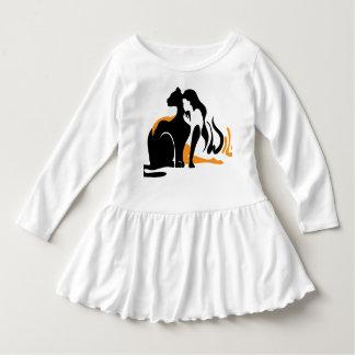 Beautiful girl, big black cat Panther illustration Dress