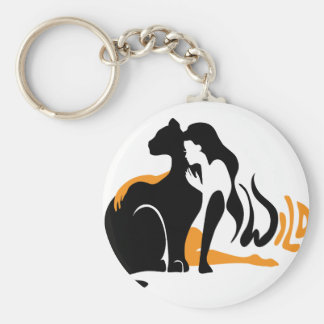 Beautiful girl, big black cat Panther illustration Keychain