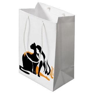 Beautiful girl, big black cat Panther illustration Medium Gift Bag