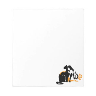 Beautiful girl, big black cat Panther illustration Notepad