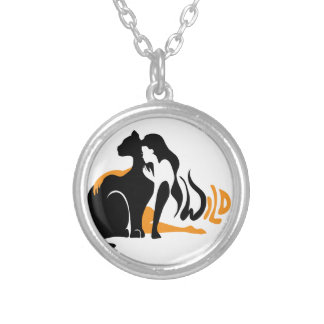 Beautiful girl, big black cat Panther illustration Silver Plated Necklace