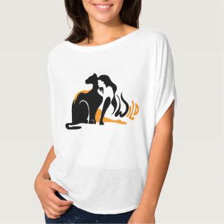 Beautiful girl, big black cat Panther illustration T-Shirt