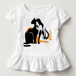 Beautiful girl, big black cat Panther illustration Toddler T-shirt