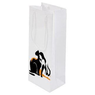 Beautiful girl, big black cat Panther illustration Wine Gift Bag