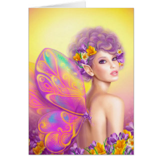 Beautiful girl fairy butterfly card