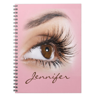 Beautiful Girl, Long Eyelashes & Monogram Notebook