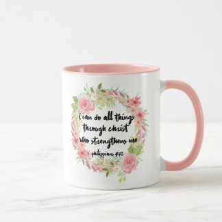 Beautiful Girl Philippians 4:13 Pink Rose Mug