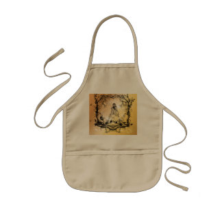 Beautiful girl surrounded by flowers kids apron