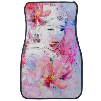 Beautiful girl with a bouquet of flowers car mat