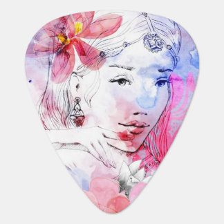 Beautiful girl with a bouquet of flowers guitar pick