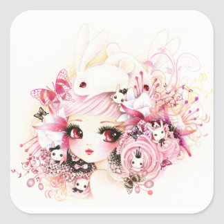 Beautiful girl with cute bunnies square sticker