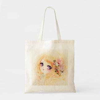 Beautiful girl with roses tote bag