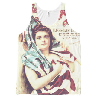 Beautiful Girl Wrapped In American Flag All-Over-Print Tank Top