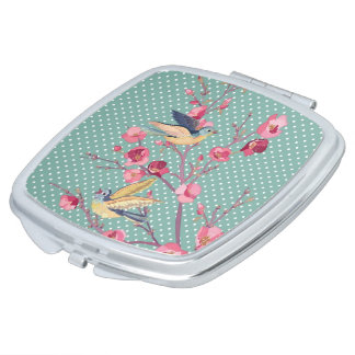 Beautiful girly chic vintage spring tree blossom makeup mirror