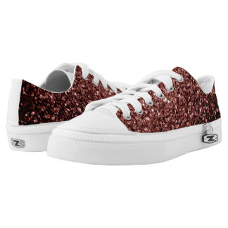 Beautiful Glam Brown Red Glitter sparkles Low-Top Sneakers