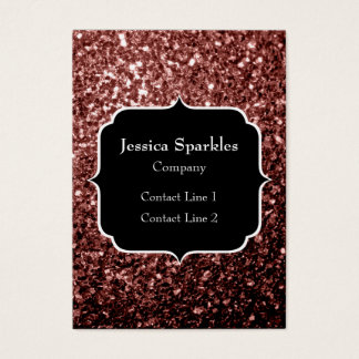 Beautiful Glam Brown Red Glitter sparkles Monogram Business Card