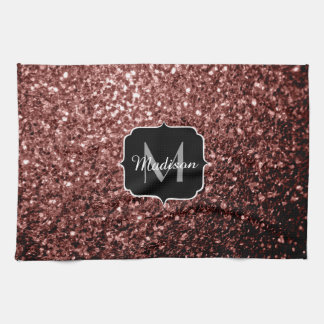 Beautiful Glam Brown Red Glitter sparkles Monogram Kitchen Towel