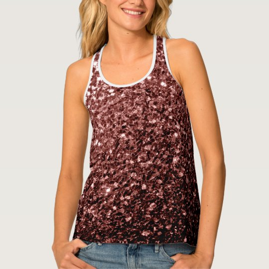 Beautiful Glam Brown Red Glitter sparkles Tank Top