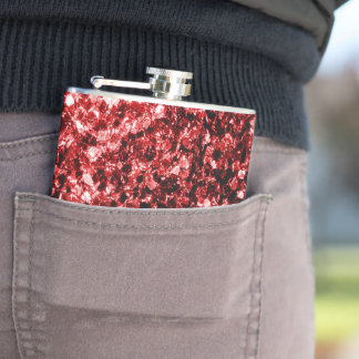 Beautiful Glamour Red Glitter sparkles Hip Flask